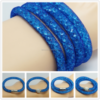 Wholesale fashion tiny beads blue mesh stardust wristband bracelet jewelry with blue resin crystal magnetic clasp ball