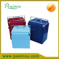 2015 hot sale retro mini vintage fashion cheap metal picnic cooler for camping,17L metal ice cooler