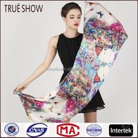 True show hot sale women's fashion scarf 100% silk scarf