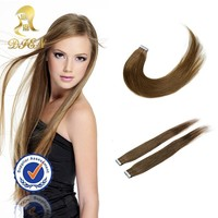Factory wholesale brown full cuticle human hair extensions,unprocessed brazilian virgin hair tape in hair extensions