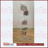 column 5 comparment clear plastic plexiglass acrylic large DVD CD standing display rack for decoration