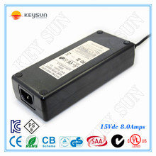 AC-DC wall type 15V 8A 120W switching power adapter/adaptor for LED lighting, moving sign applications,home appliance