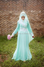 Beautiful Long Chiffon Mint Green Long Sleeve Muslim Evening Dress With White Applique