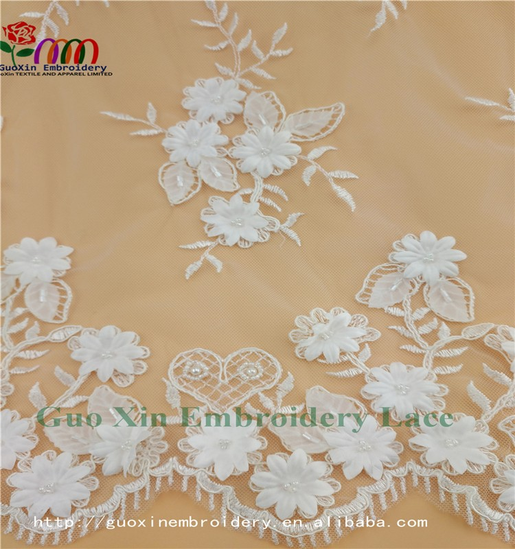 GUOXIN new arrival lace embroidery lace fabric for wedding dress A60915 (4)