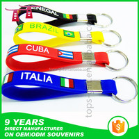 nice metal clip national flag silicone keychain