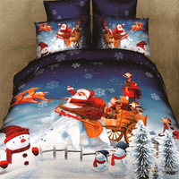 hot sale cotton 3D bedding set for Merry Christmas