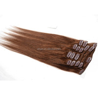 Hot Selling 100 Human Hair #4 22'' Natural Brown Clip In Hair Extensions For African American