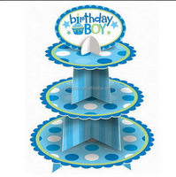 For party use 3 shelf PVC cupcake display stand