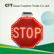 High quality Solar flashing led stop traffic sign