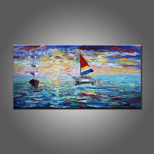 China Factory Wholesale High Quality Handmade Beautiful Landscape Ships Oil Painting On Canvas For Wall Art Decor Ship Pictures