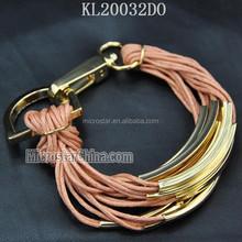 Ebay горячей оптовая продажа удивительные плетеный воск строка DIY браслет с металлической трубки застежка