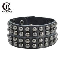 CR1066 Fashion Layers Multi Rivet Leather Bracelet