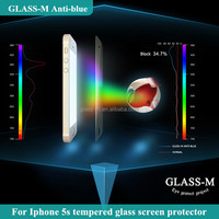 Colorful anti-glare 0.2mm round edge smartphone tempered glass screen protector for iphone 5/5s