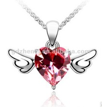 Red heart angel wings 925 sterling silver pendant