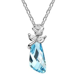 Free Shipping Fashion Ladies the Story of Rose Swarovski Crystal Necklace