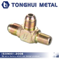 galvanized carbon steel tee adapter pipe joint,pneumatic flare 3 way connector,metric&R threaded male fittings