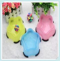 2015 New Pet Product Pet Star Shape Plastic Bowl Dog Food Bowl