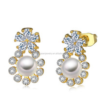 Top sale gold beautiful designed earrings with pearl made in China --JE6541-WWY
