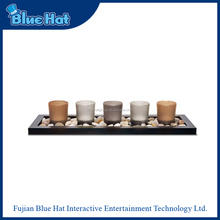 5 solid glass votive candle holder with wooden base&river rocks
