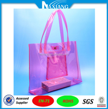 Clear PVC tote bag with handheld for promotion
