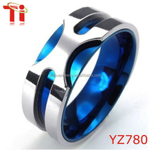 Jewelry Mens Stainless Steel Ring 8mm Classic Band, Blue Silver