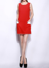 Custom Red Casual Bodycon Tube dress side pockets Slim Fit women office ladies suits