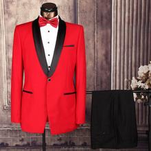 Wholesale 2PCS set Men's red Wedding Event Business Formal Suits