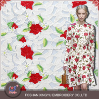 2015 New Arrival Fantastic Fashion Computer Cotton Embroidery Crochet Lace design for evening dress