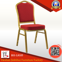 BH-L8105 Golden tube hotel banquet chair with back flower