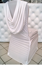 full pleated and back swag chair cover/ruffled 90%poly 10%lycra chair cover/ruched wedding fashion hotel chair cover