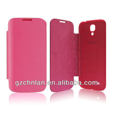 Cell phone leather case for Samsung Galaxy S4 flip case with PC back cover