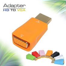 New design digital to analog converter wireless male to female HDMI TO VGA Adapter without Audio Orange