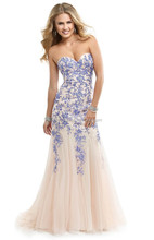 Charming Elegant 2015 New Design Beaded Prom Dress Appliques Sweep Train Evening Dress XP-67