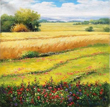 Popular handpainted oil painting landscape oil painting rural area oil painting