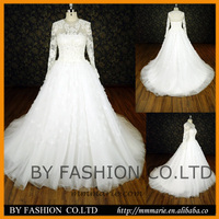 Princess long sleeves puffy corset back french lace applique beaded Ball gown wedding dresses 2016