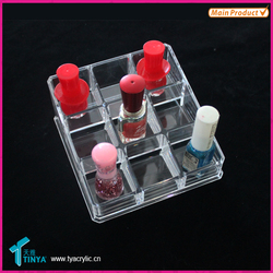Wholesale China Factory 9 Compartment Cosmetic Organizer Clear Lipsticks Holder Trapezoid Makeup Case