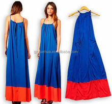 Summer New Fashion Women 2015 Blue and Red Patchwork Design Suitable For Travel Beach Loose Plus Size Long Dress
