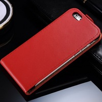 Noble red genuine leather flip case for Iphone 6 4.7 inch