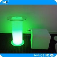 Christmas ornament LED glow cylinder bar tables / LED light up glass bar table