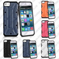 Hybrid Silicone + Black PC Case Cover For Iphone 5S 5G + Screen Protector as Gift With Free Shipping Cost