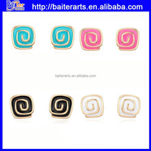 Cute Gold Plated Alloy Girls Rose Shaped Stud Earrings With Four Colors