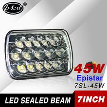 make in china 7 inch rectangle 45w epistar led sealed beam headlight 12v 24v