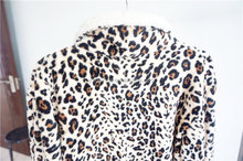 Female Leopard Grain Thick flannel tracksuit fitted Pajamas Suit