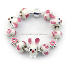Lovely Pink Rabbit Murano Glass Beads Charm Bracelets in Silver Plated for Teens and Girls Size 8 inch/20cm