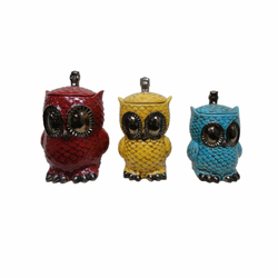 Set of 3 Crackle red, yellow and blue ceramic owl statue canister set for home decoration