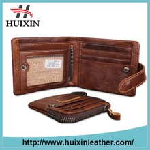 Guarantee Genuine Leather Zipper Trifold men Wallet , Card Holder wallet , Coin Purse Wallet