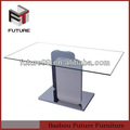 vidro temperado branco base de madeira mesa de jantar