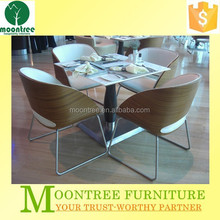 Moontree MDT-1114 restaurant marble dining table designs and four chairs