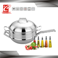 30-34CM stainless steel pan large cooking pots with bamboo steamer