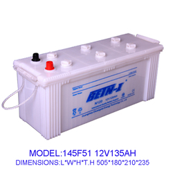 automotive batteries dry charge 135ah dry charged car battery 145F51